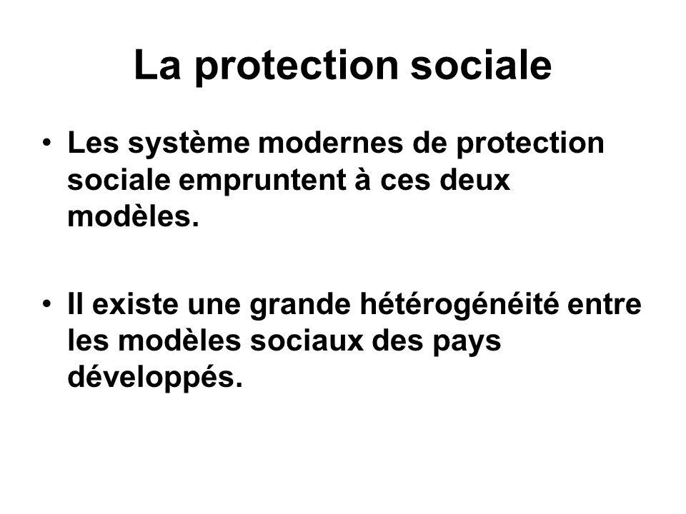 La protection sociale Les système modernes de protection sociale empruntent à ces deux modèles. Il existe une grande hétérogénéité entre les modèles s
