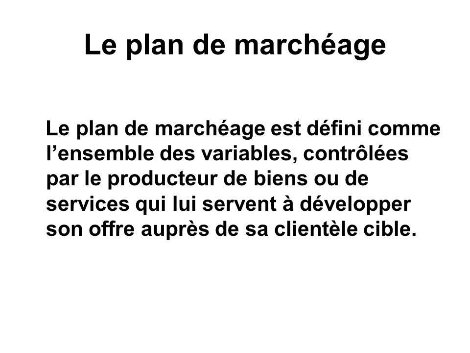 Le plan de marchéage Le plan de marchéage est défini comme lensemble des variables, contrôlées par le producteur de biens ou de services qui lui serve