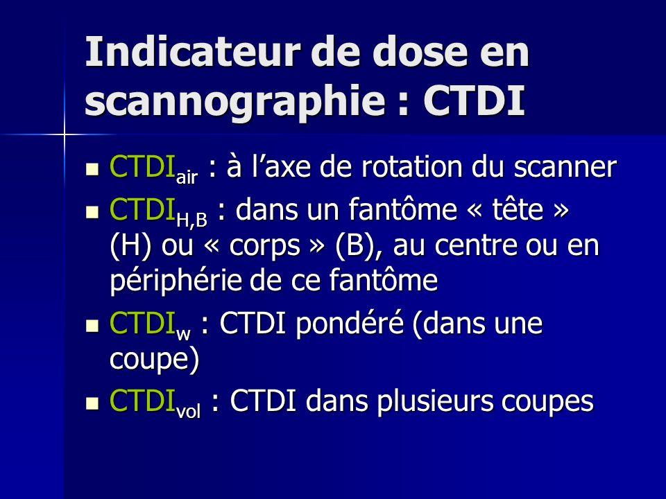 Indicateur de dose en scannographie : CTDI CTDI air : à laxe de rotation du scanner CTDI air : à laxe de rotation du scanner CTDI H,B : dans un fantôm