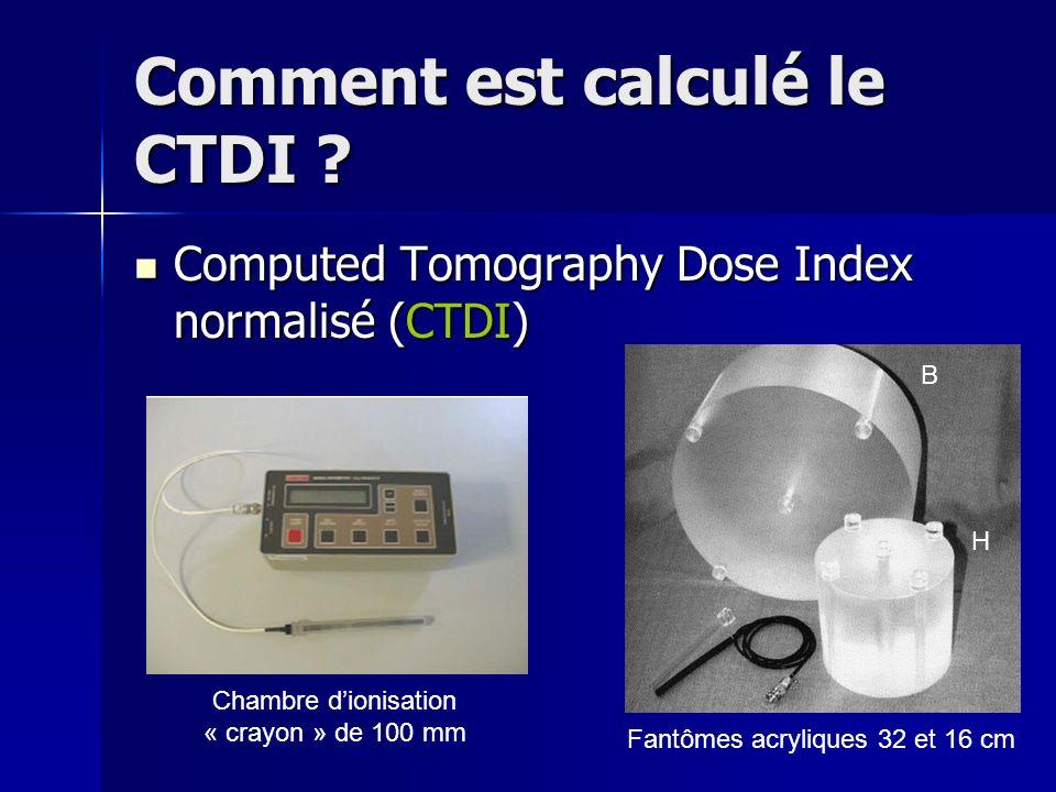 Comment est calculé le CTDI ? Computed Tomography Dose Index normalisé (CTDI) Computed Tomography Dose Index normalisé (CTDI) Fantômes acryliques 32 e