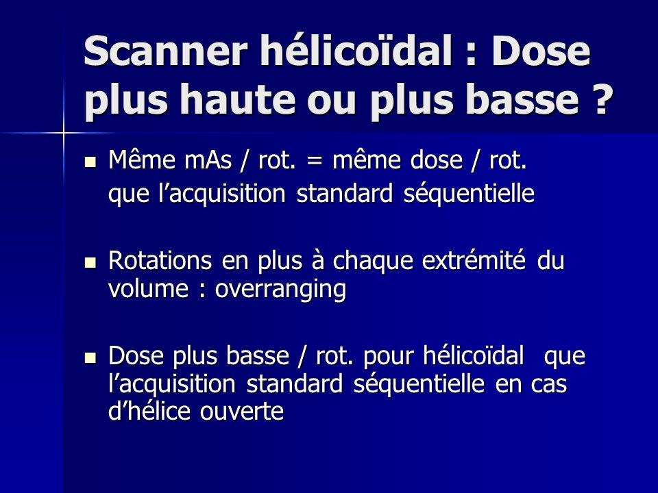 Scanner hélicoïdal : Dose plus haute ou plus basse ? Même mAs / rot. = même dose / rot. Même mAs / rot. = même dose / rot. que lacquisition standard s
