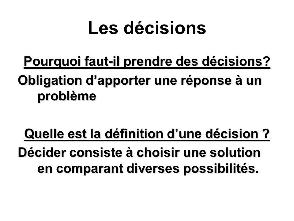 Les décisions Pourquoi faut-il prendre des décisions.