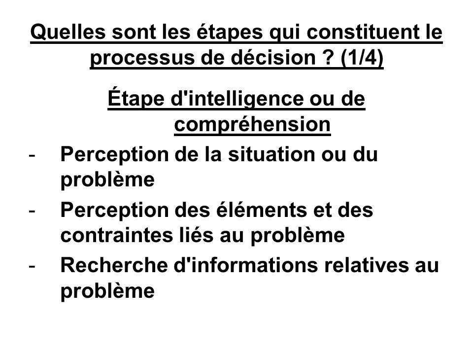 Quelles sont les étapes qui constituent le processus de décision .