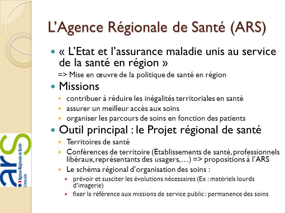 LAgence Régionale de Santé (ARS) « LEtat et lassurance maladie unis au service de la santé en région » => Mise en œuvre de la politique de santé en ré
