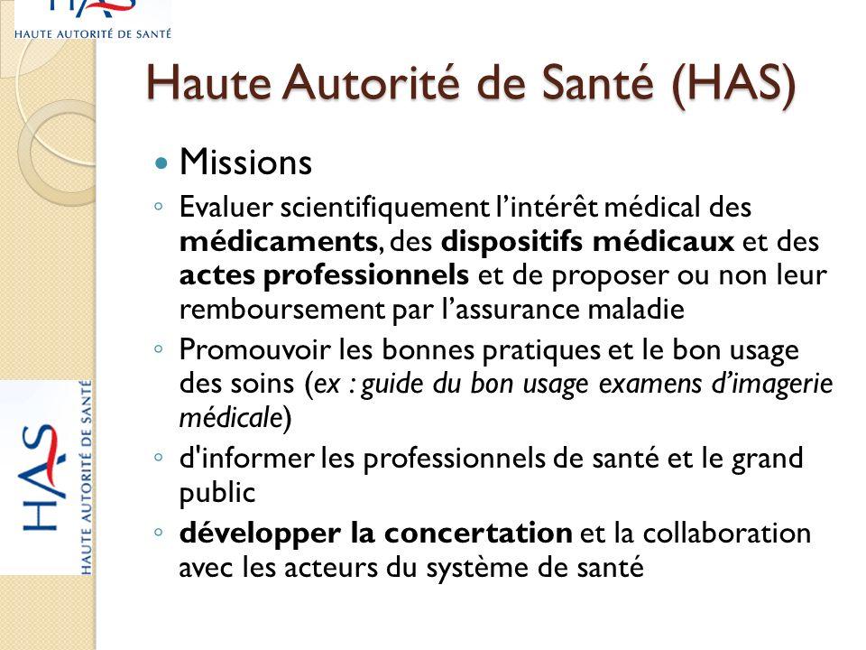 Haute Autorité de Santé (HAS) Missions Evaluer scientifiquement lintérêt médical des médicaments, des dispositifs médicaux et des actes professionnels