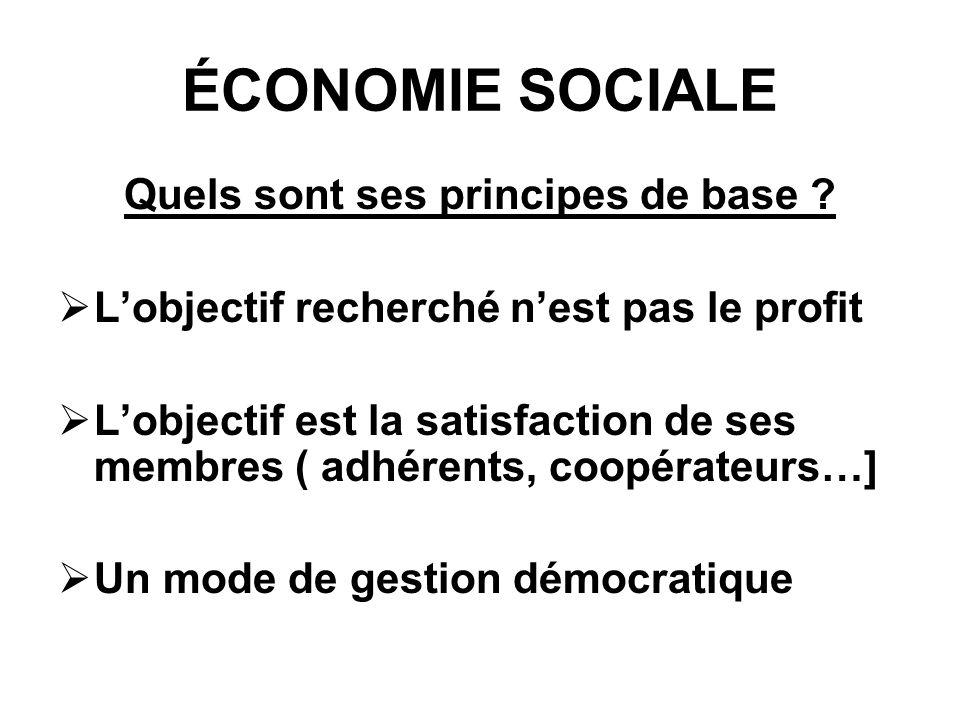 ÉCONOMIE SOCIALE Quels sont ses principes de base .