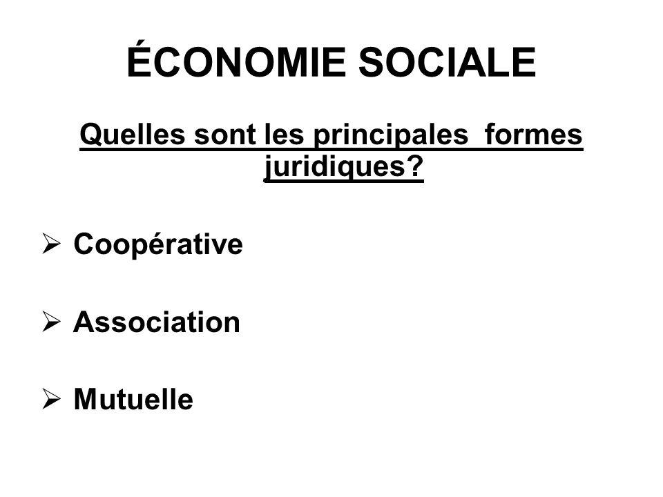 ÉCONOMIE SOCIALE Quelles sont les principales formes juridiques? Coopérative Association Mutuelle