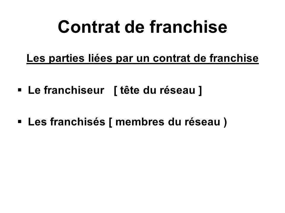 Contrat de franchise Les parties liées par un contrat de franchise Le franchiseur [ tête du réseau ] Les franchisés [ membres du réseau )