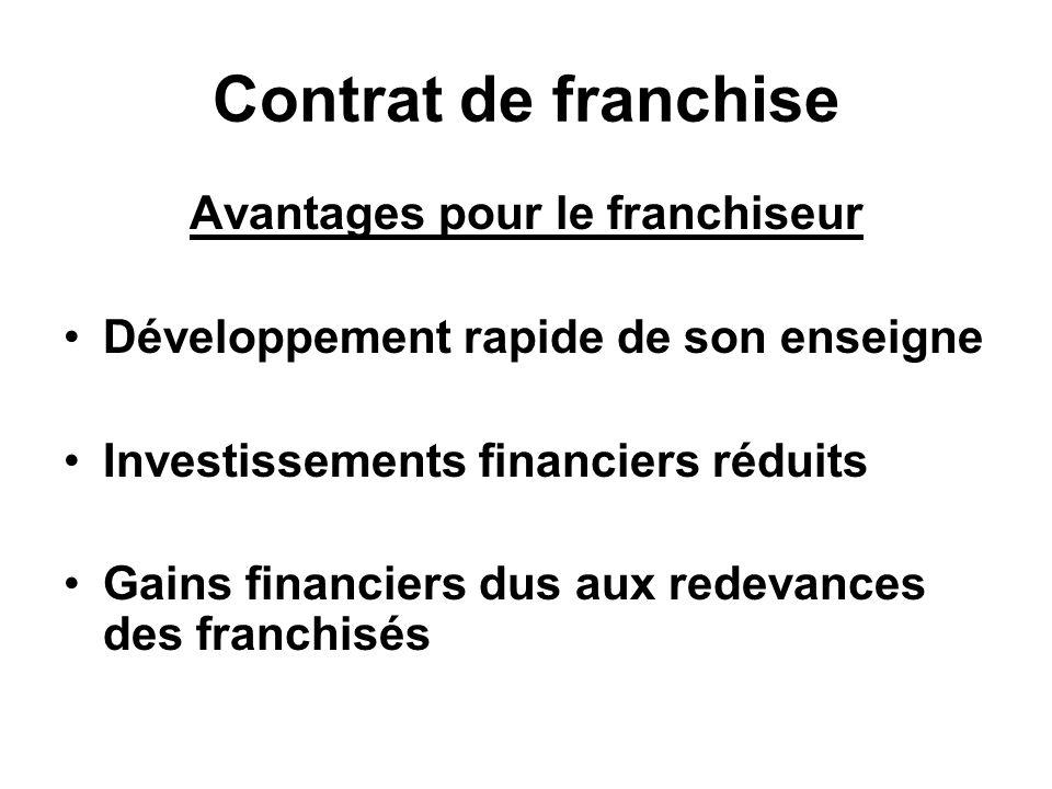Contrat de franchise Avantages pour le franchiseur Développement rapide de son enseigne Investissements financiers réduits Gains financiers dus aux redevances des franchisés