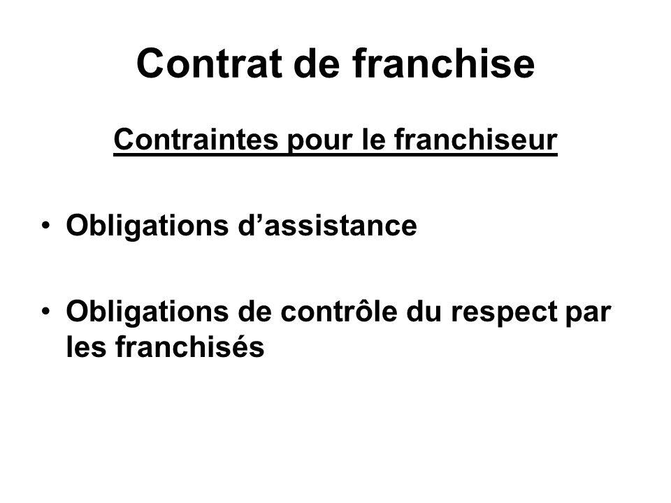 Contrat de franchise Contraintes pour le franchiseur Obligations dassistance Obligations de contrôle du respect par les franchisés