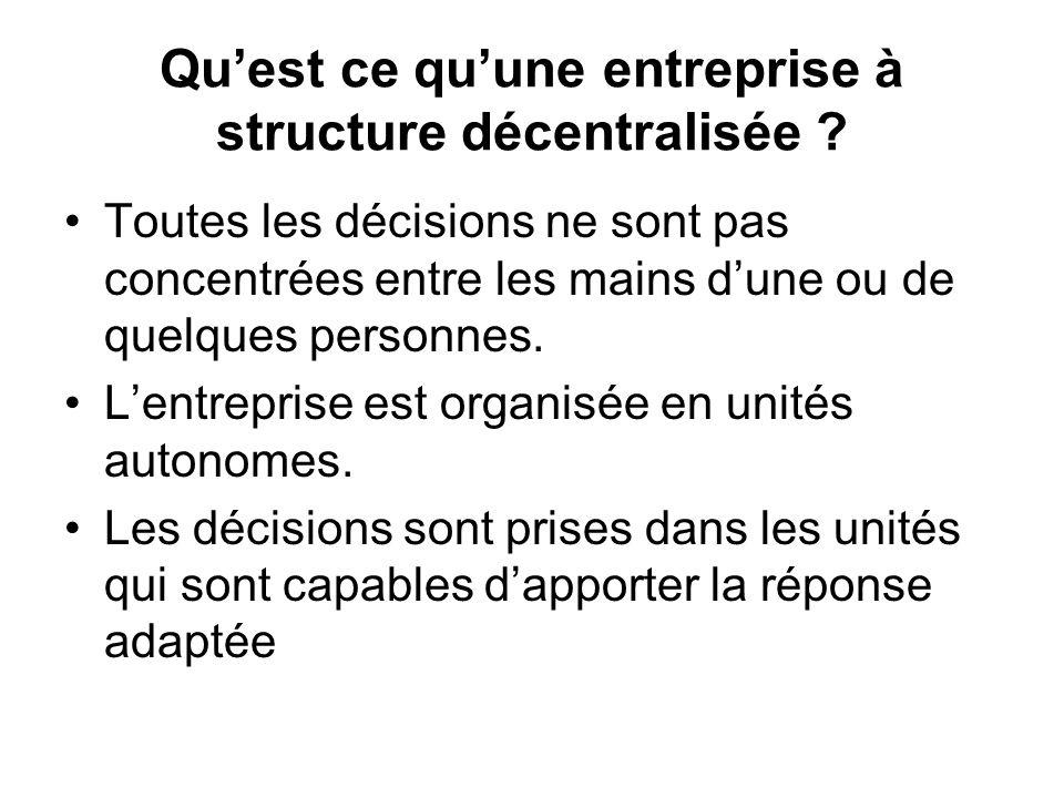 Quest ce quune entreprise à structure décentralisée ? Toutes les décisions ne sont pas concentrées entre les mains dune ou de quelques personnes. Lent