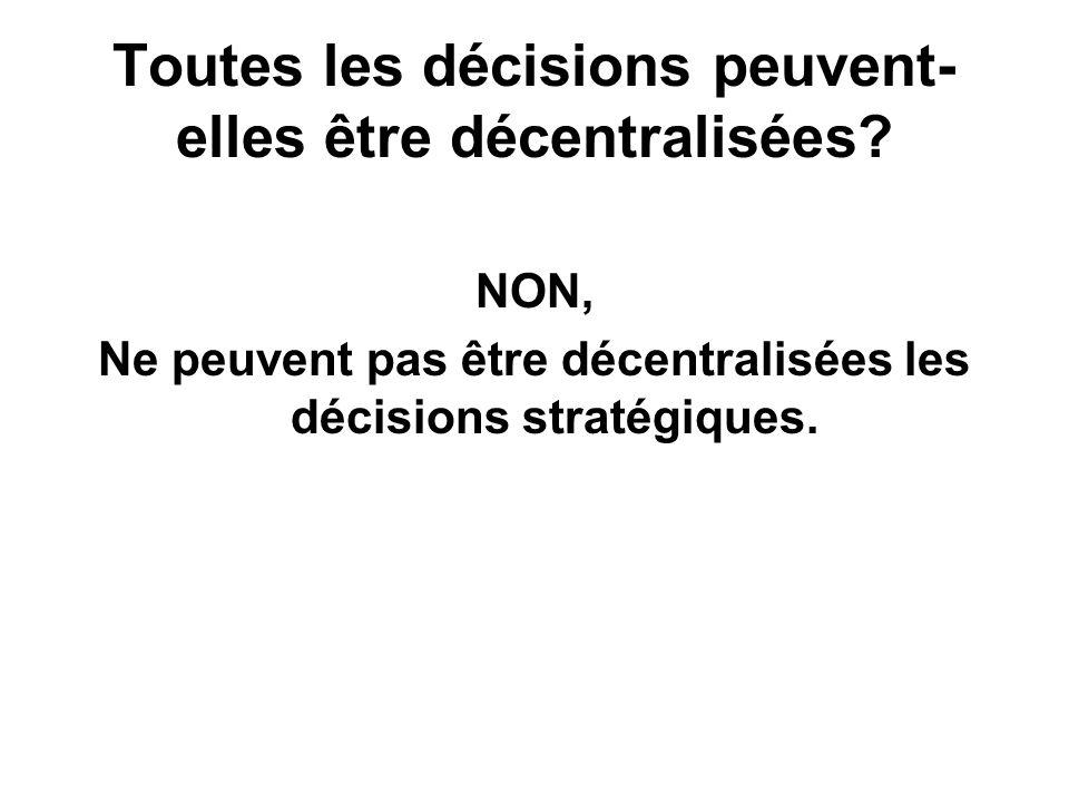 Toutes les décisions peuvent- elles être décentralisées? NON, Ne peuvent pas être décentralisées les décisions stratégiques.