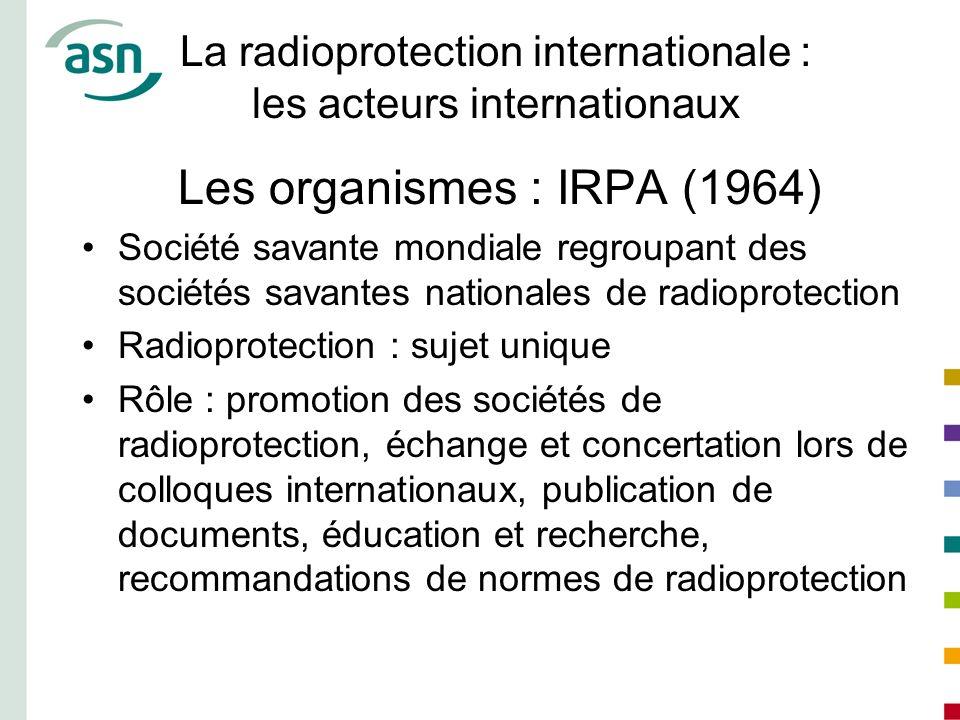 La radioprotection internationale : les acteurs internationaux Les organismes : IRPA (1964) Société savante mondiale regroupant des sociétés savantes