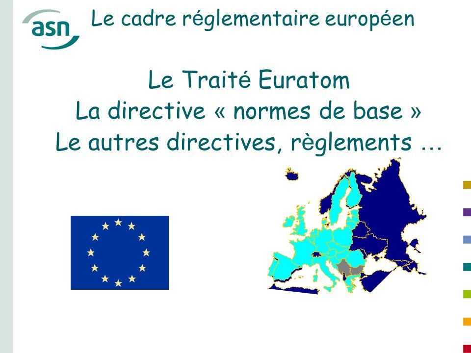 Le cadre r é glementaire europ é en Le Trait é Euratom La directive « normes de base » Le autres directives, r è glements …