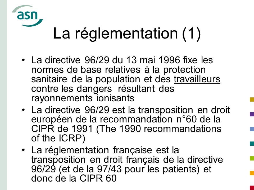 La réglementation (1) La directive 96/29 du 13 mai 1996 fixe les normes de base relatives à la protection sanitaire de la population et des travailleu