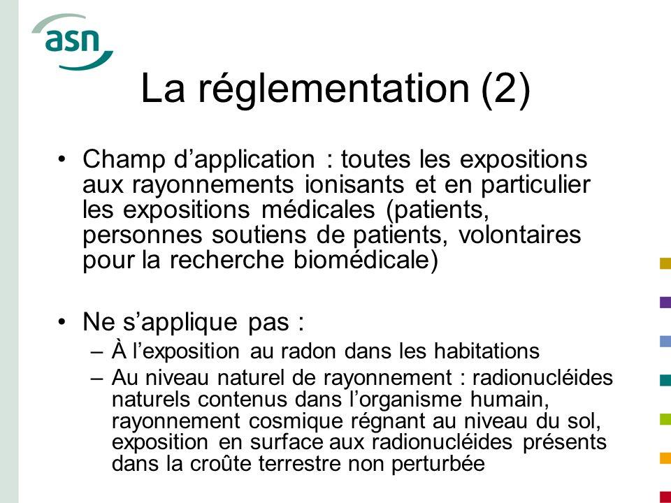 La réglementation (2) Champ dapplication : toutes les expositions aux rayonnements ionisants et en particulier les expositions médicales (patients, pe