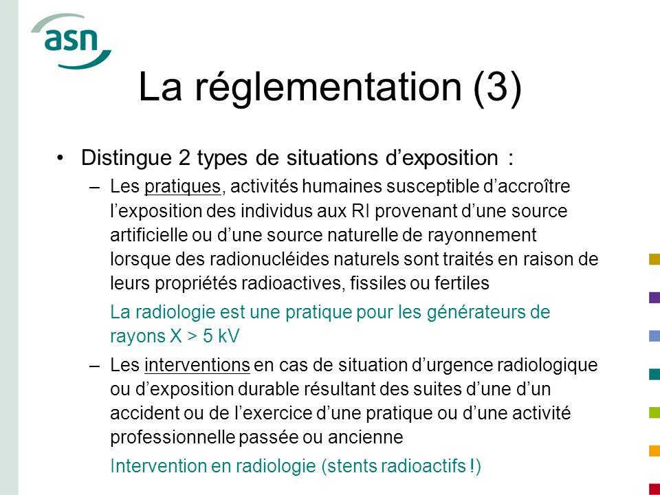 La réglementation (3) Distingue 2 types de situations dexposition : –Les pratiques, activités humaines susceptible daccroître lexposition des individu