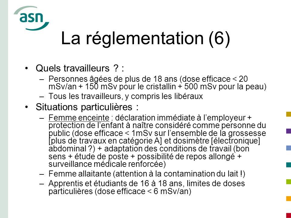 La réglementation (6) Quels travailleurs ? : –Personnes âgées de plus de 18 ans (dose efficace < 20 mSv/an + 150 mSv pour le cristallin + 500 mSv pour