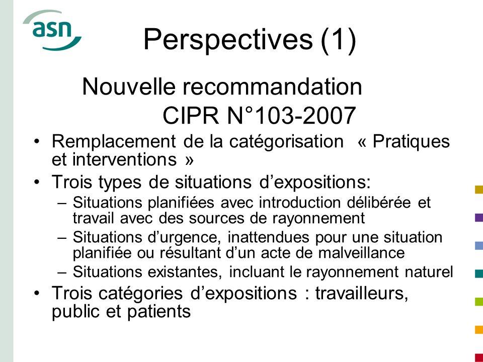 Perspectives (1) Nouvelle recommandation CIPR N°103-2007 Remplacement de la catégorisation « Pratiques et interventions » Trois types de situations de