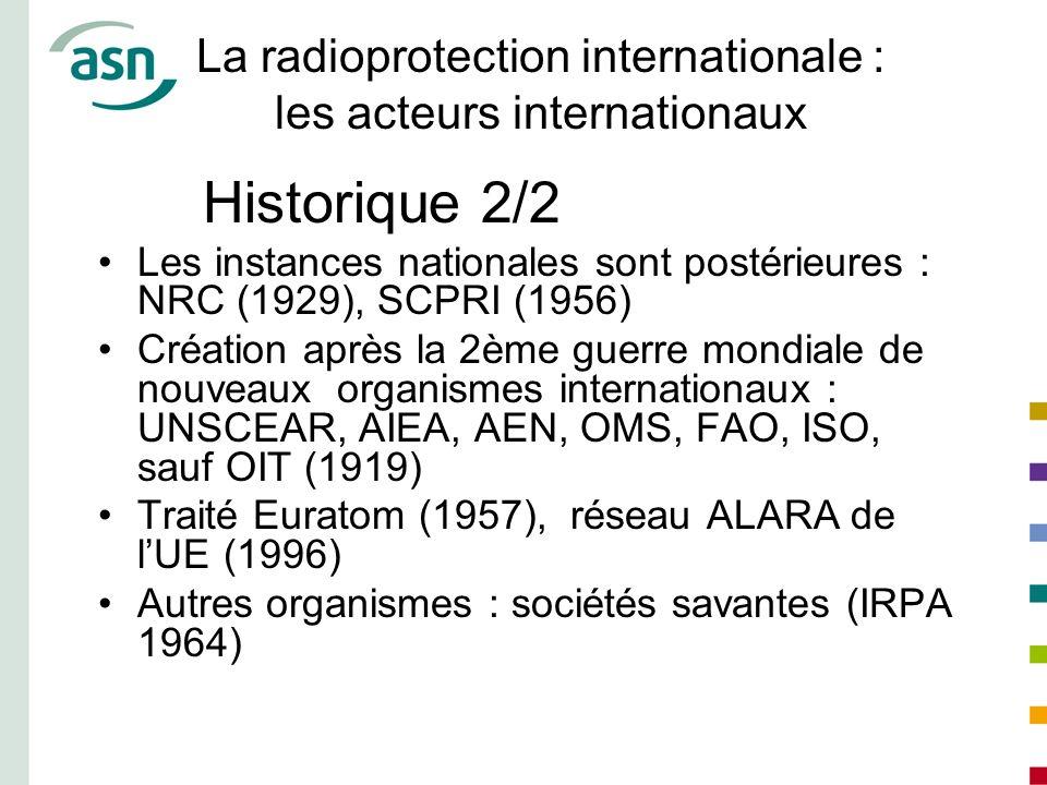 La radioprotection internationale : les acteurs internationaux Historique 2/2 Les instances nationales sont postérieures : NRC (1929), SCPRI (1956) Cr