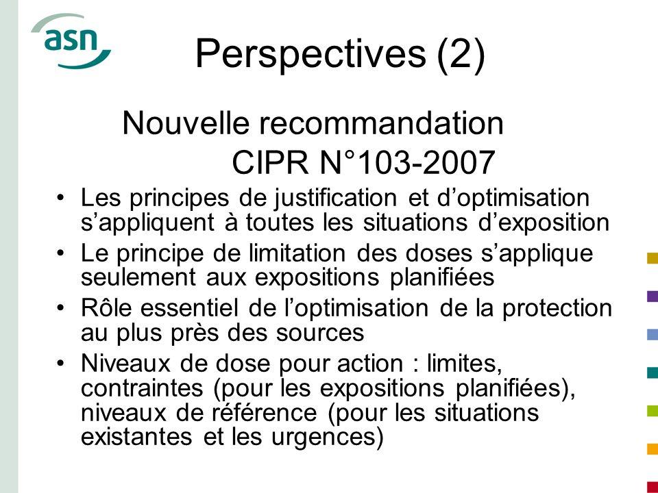 Perspectives (2) Nouvelle recommandation CIPR N°103-2007 Les principes de justification et doptimisation sappliquent à toutes les situations dexpositi