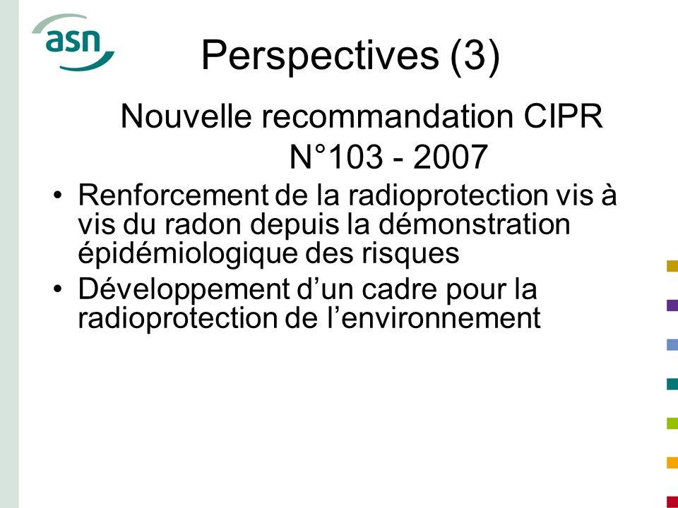 Perspectives (3) Nouvelle recommandation CIPR N°103 - 2007 Renforcement de la radioprotection vis à vis du radon depuis la démonstration épidémiologiq