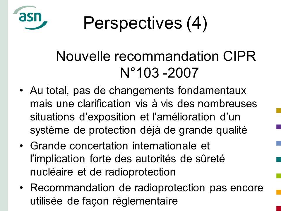 Perspectives (4) Nouvelle recommandation CIPR N°103 -2007 Au total, pas de changements fondamentaux mais une clarification vis à vis des nombreuses si