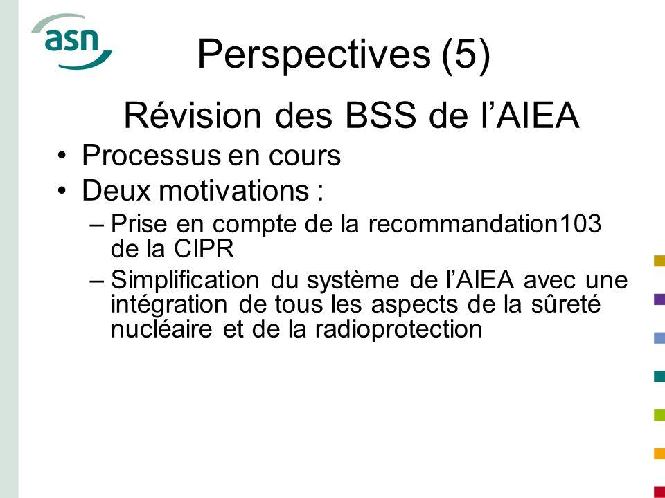 Perspectives (5) Révision des BSS de lAIEA Processus en cours Deux motivations : –Prise en compte de la recommandation103 de la CIPR –Simplification d