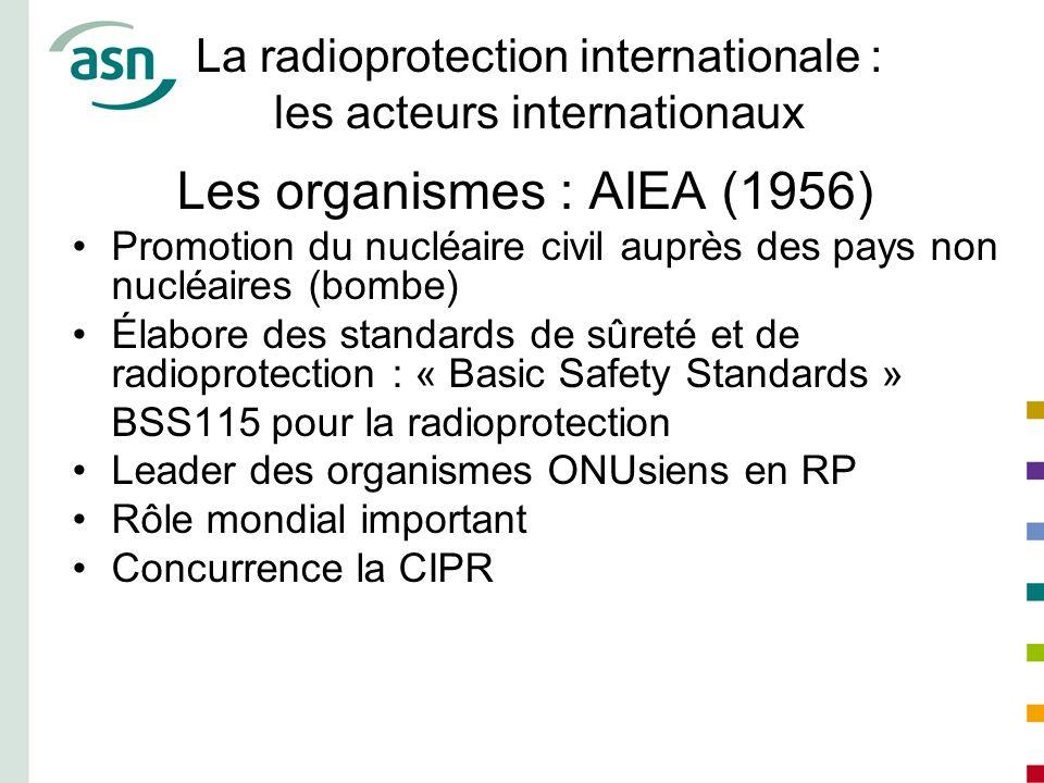 La radioprotection internationale : les acteurs internationaux Les organismes : AIEA (1956) Promotion du nucléaire civil auprès des pays non nucléaire
