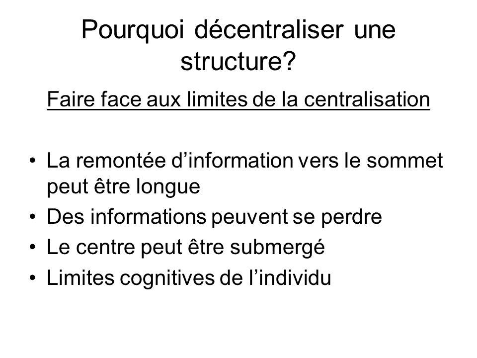 Pourquoi décentraliser une structure? Faire face aux limites de la centralisation La remontée dinformation vers le sommet peut être longue Des informa