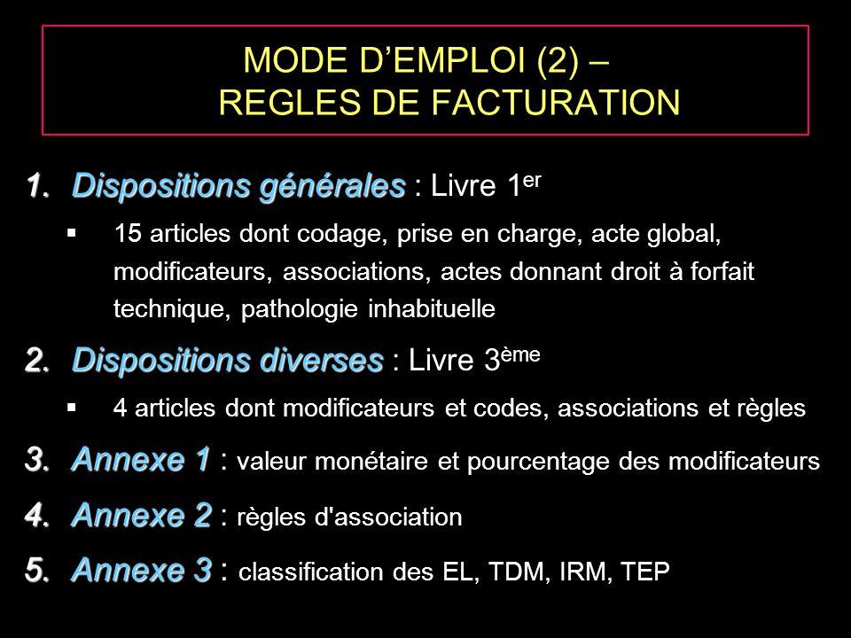 MODE DEMPLOI (2) – REGLES DE FACTURATION 1.Dispositions générales 1.Dispositions générales : Livre 1 er 15 articles dont codage, prise en charge, acte