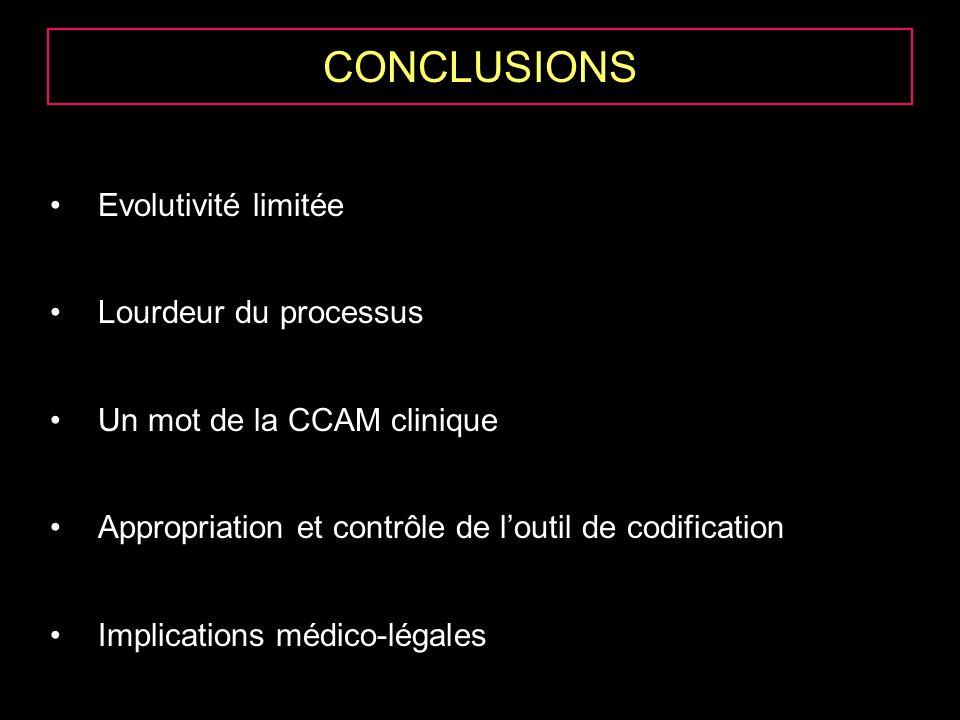 CONCLUSIONS Evolutivité limitée Lourdeur du processus Un mot de la CCAM clinique Appropriation et contrôle de loutil de codification Implications médico-légales