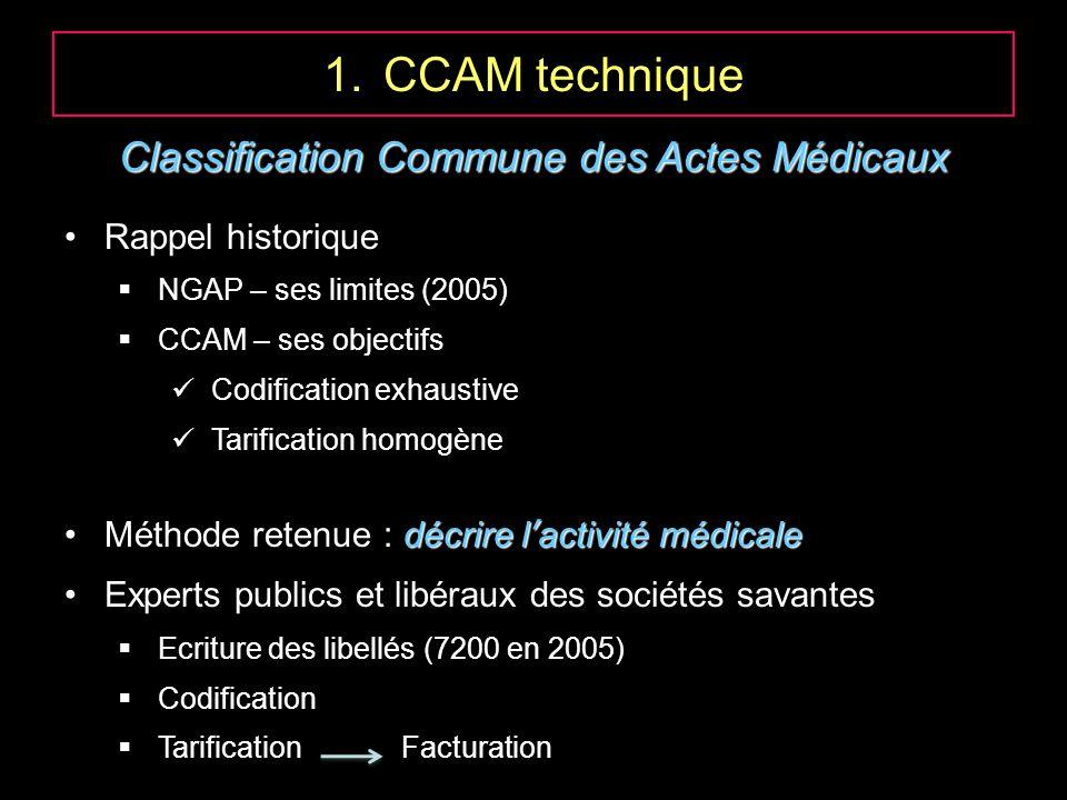 1.CCAM technique Classification Commune des Actes Médicaux Rappel historique NGAP – ses limites (2005) CCAM – ses objectifs Codification exhaustive Ta