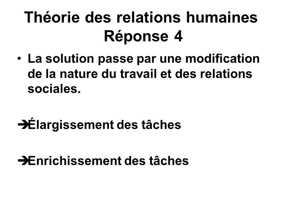 Théorie des relations humaines Réponse 4 La solution passe par une modification de la nature du travail et des relations sociales. Élargissement des t