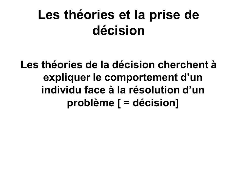 Les théories et la prise de décision Les théories de la décision cherchent à expliquer le comportement dun individu face à la résolution dun problème
