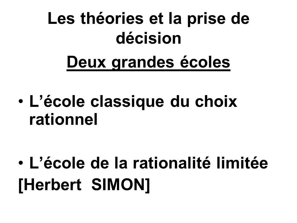 Les théories et la prise de décision Deux grandes écoles Lécole classique du choix rationnel Lécole de la rationalité limitée [Herbert SIMON]