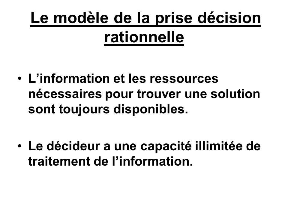 Le modèle de la prise décision rationnelle Linformation et les ressources nécessaires pour trouver une solution sont toujours disponibles. Le décideur