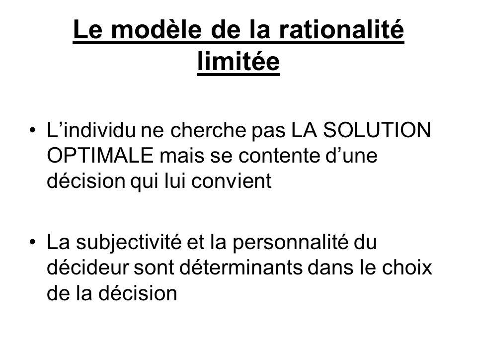 Le modèle de la rationalité limitée Lindividu ne cherche pas LA SOLUTION OPTIMALE mais se contente dune décision qui lui convient La subjectivité et l