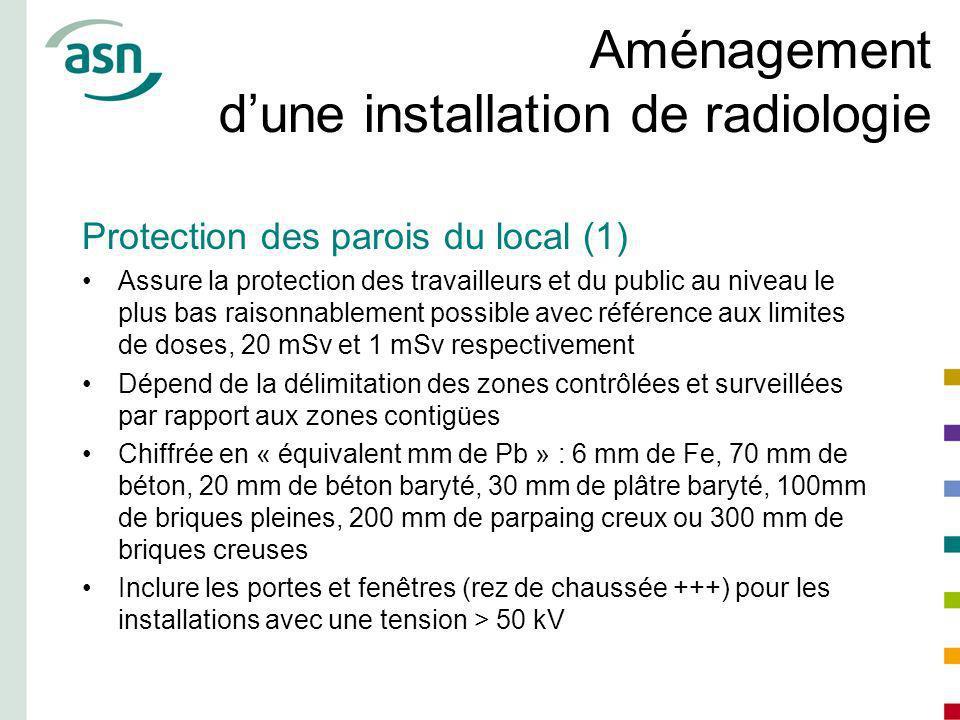 Aménagement dune installation de radiologie Protection des parois du local (1) Assure la protection des travailleurs et du public au niveau le plus ba