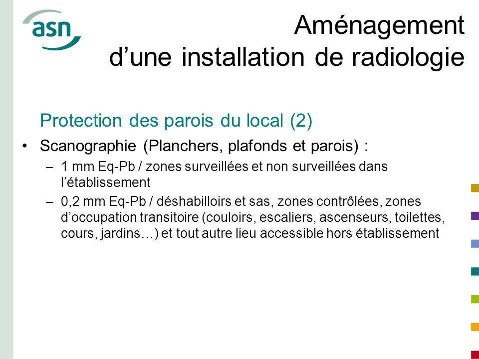 Aménagement dune installation de radiologie Protection des parois du local (2) Scanographie (Planchers, plafonds et parois) : –1 mm Eq-Pb / zones surv
