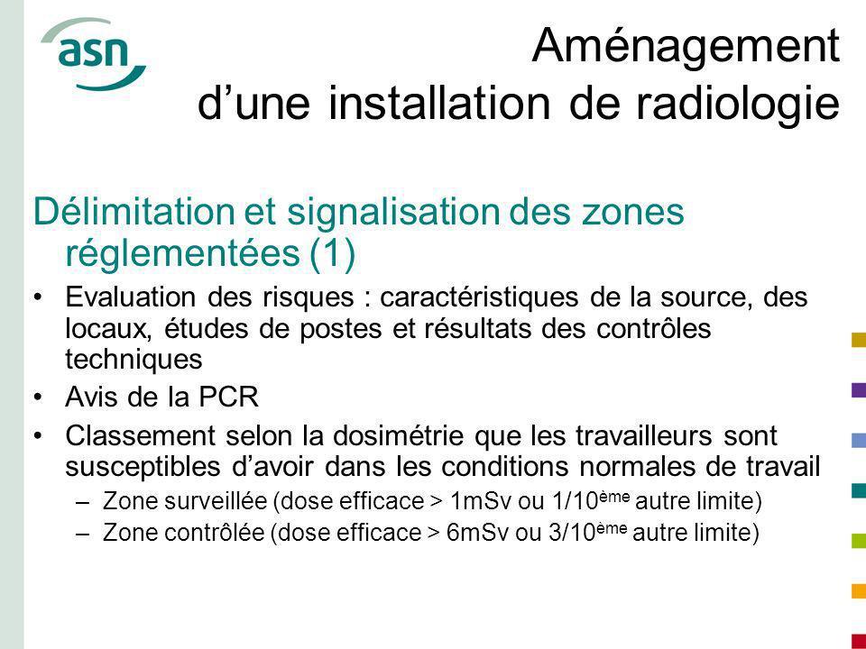 Aménagement dune installation de radiologie Délimitation et signalisation des zones réglementées (1) Evaluation des risques : caractéristiques de la s
