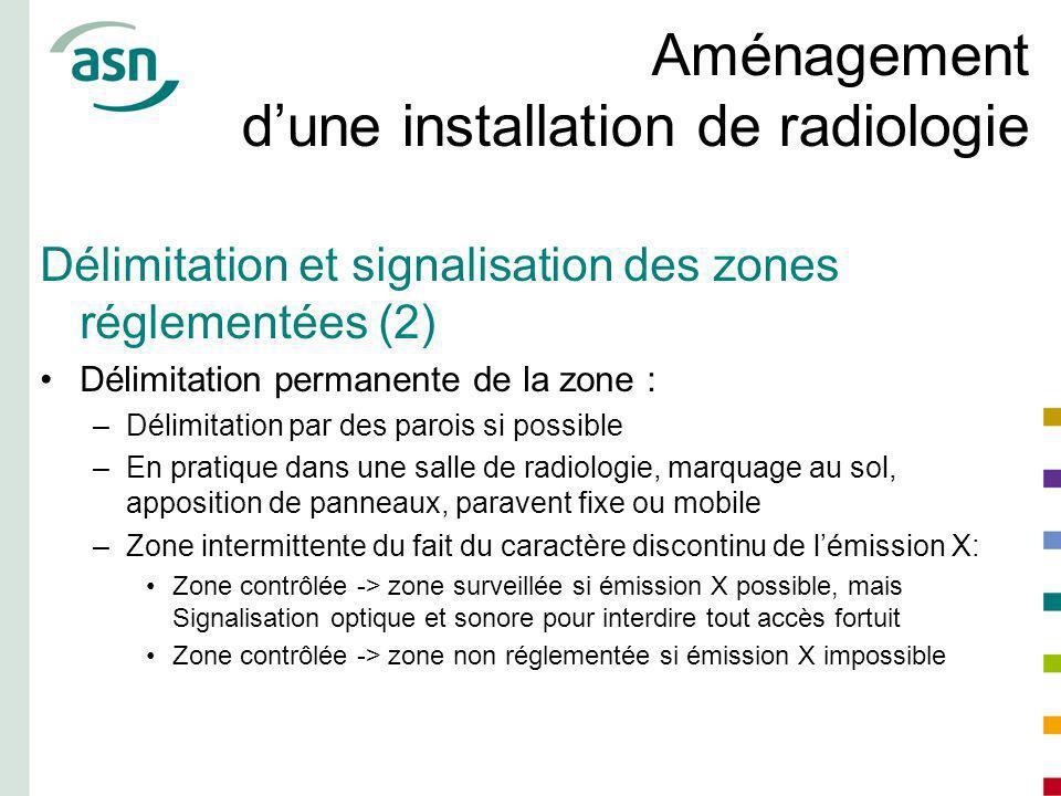 Aménagement dune installation de radiologie Délimitation et signalisation des zones réglementées (2) Délimitation permanente de la zone : –Délimitatio
