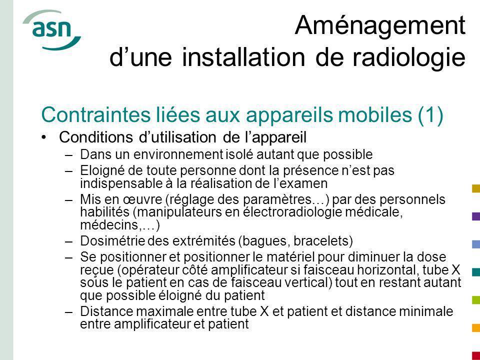 Aménagement dune installation de radiologie Contraintes liées aux appareils mobiles (1) Conditions dutilisation de lappareil –Dans un environnement is