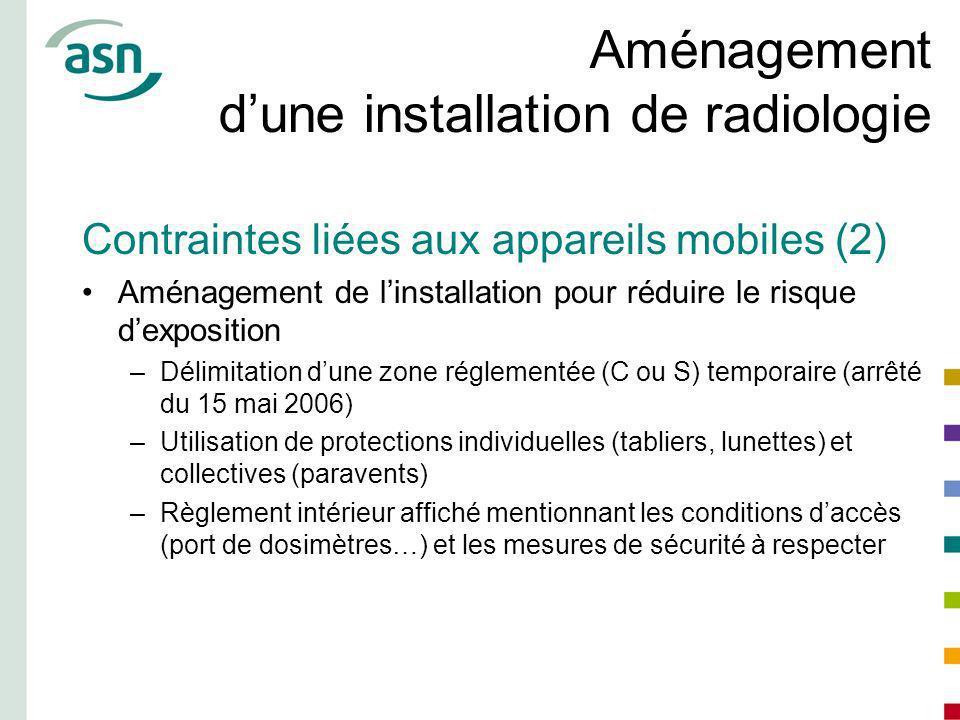 Aménagement dune installation de radiologie Contraintes liées aux appareils mobiles (2) Aménagement de linstallation pour réduire le risque dexpositio