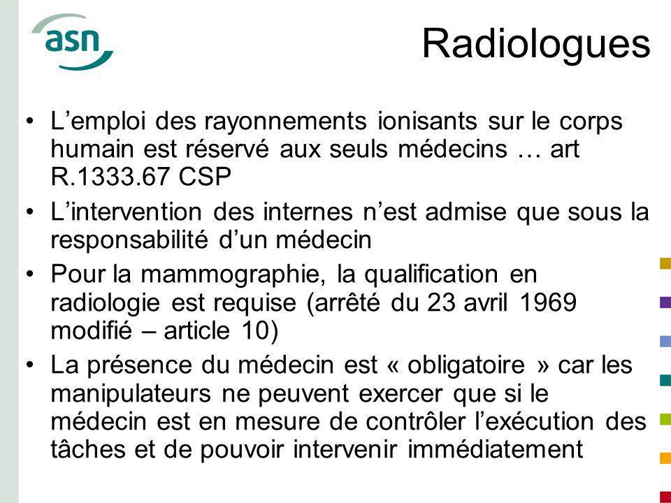 Radiologues Lemploi des rayonnements ionisants sur le corps humain est réservé aux seuls médecins … art R.1333.67 CSP Lintervention des internes nest