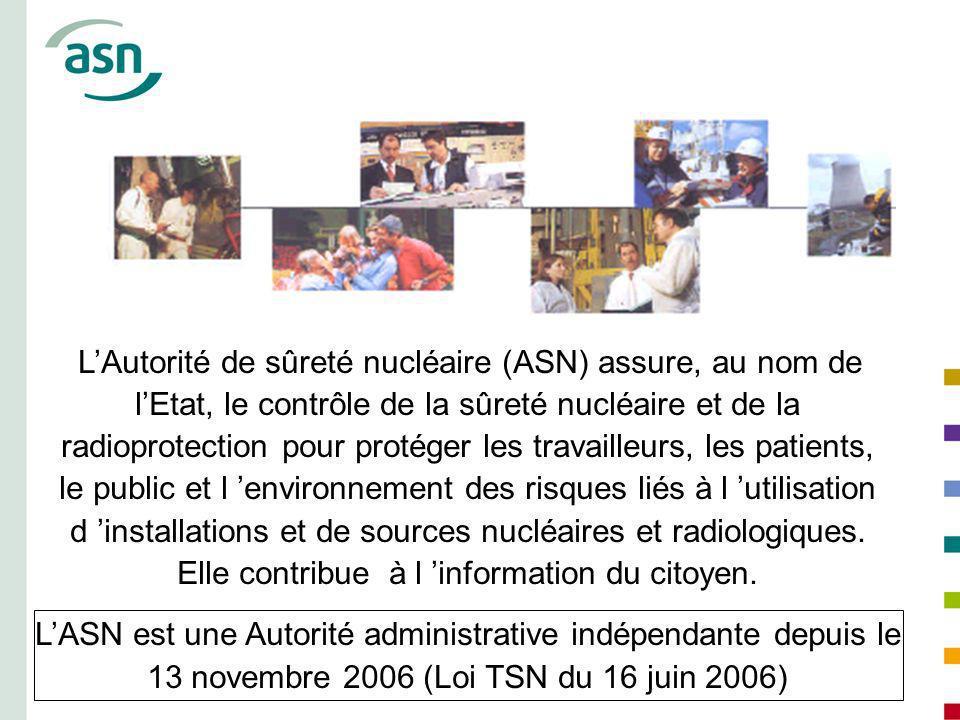 erer LAutorité de sûreté nucléaire (ASN) assure, au nom de lEtat, le contrôle de la sûreté nucléaire et de la radioprotection pour protéger les travai