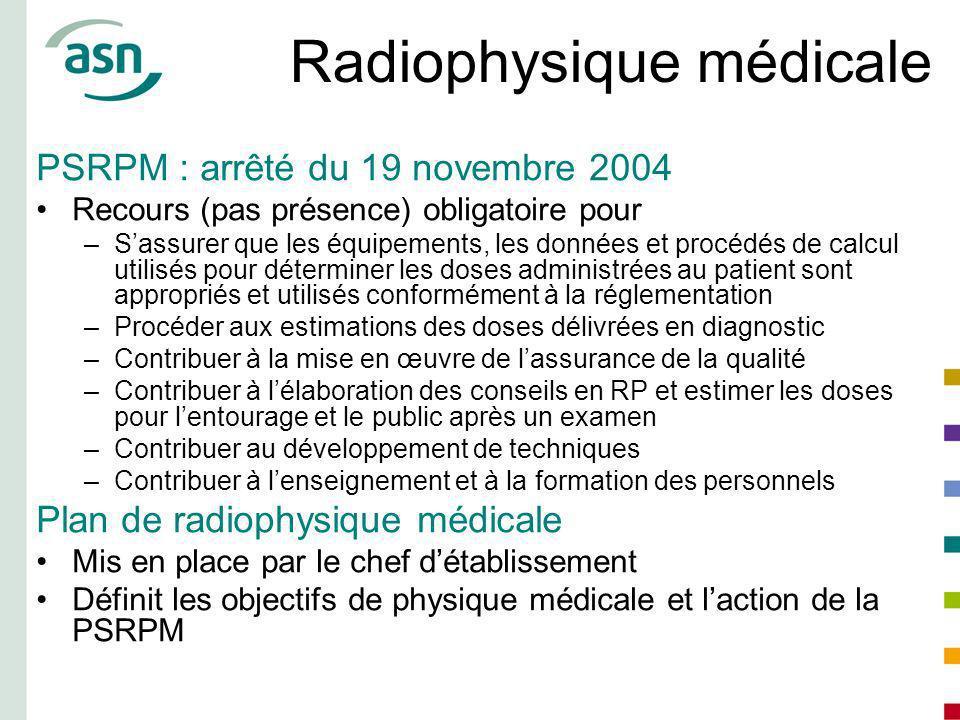 Radiophysique médicale PSRPM : arrêté du 19 novembre 2004 Recours (pas présence) obligatoire pour –Sassurer que les équipements, les données et procéd