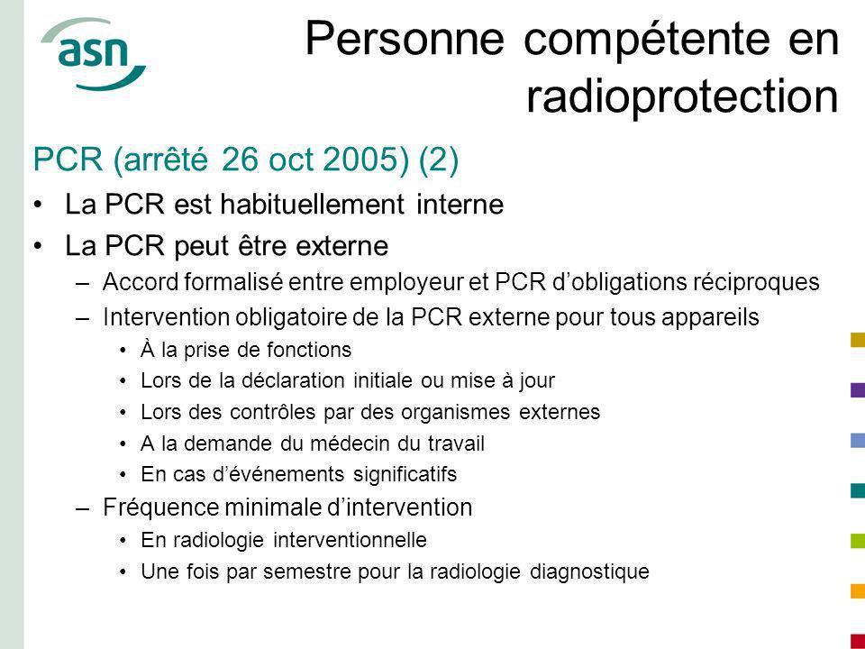 Personne compétente en radioprotection PCR (arrêté 26 oct 2005) (2) La PCR est habituellement interne La PCR peut être externe –Accord formalisé entre