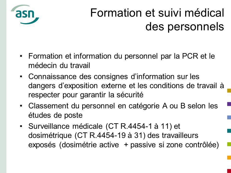 Formation et suivi médical des personnels Formation et information du personnel par la PCR et le médecin du travail Connaissance des consignes dinform