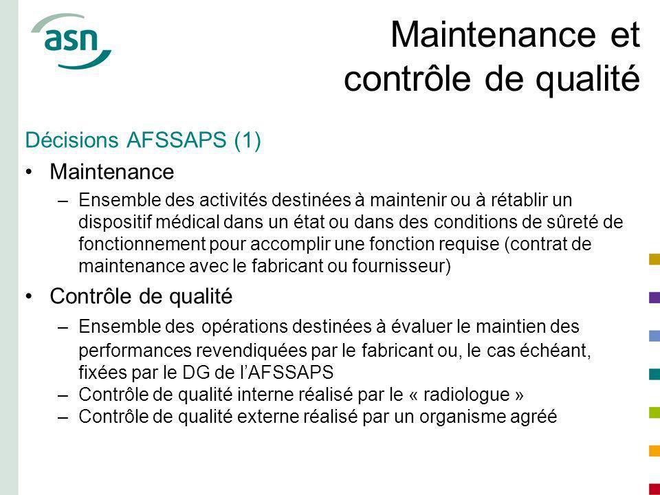 Maintenance et contrôle de qualité Décisions AFSSAPS (1) Maintenance –Ensemble des activités destinées à maintenir ou à rétablir un dispositif médical